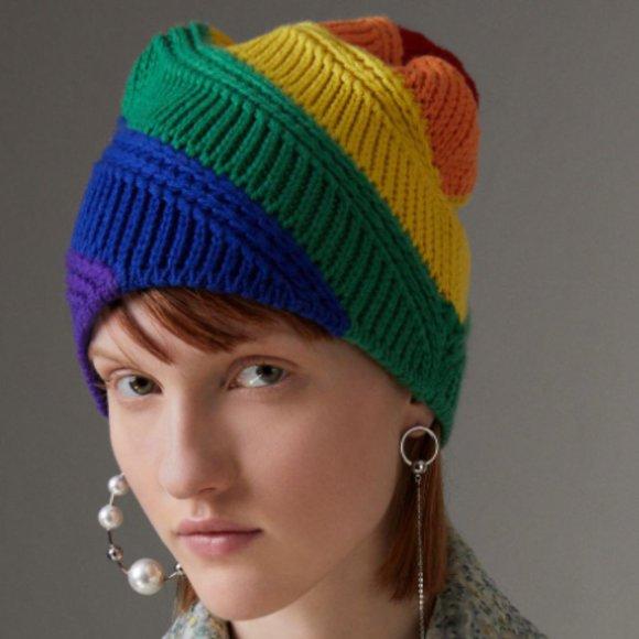Burberry Rainbow Pride Wool Cashmere Beanie Hat